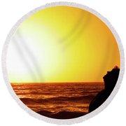 Sunset On Wall Beach Round Beach Towel