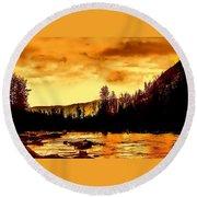 Sunset At  Yellowstone Lake Round Beach Towel