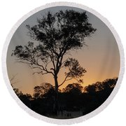 Sunset - Out In The Country Round Beach Towel