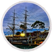 Sunset Over A Tall Ship Round Beach Towel
