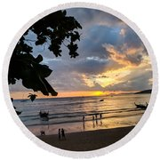Sunset Over Ao Nang Beach Thailand Round Beach Towel