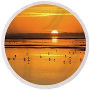 Sunset Over Arcata Marsh, With Avocets Round Beach Towel