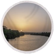 Sunset Over Austin Texas River Round Beach Towel