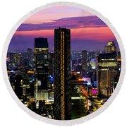 Sunset Over Bangkok Round Beach Towel