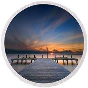 Sunset Over Barnegat Bay Round Beach Towel
