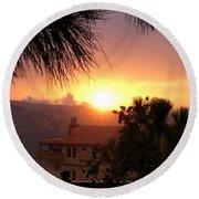 Sunset Over Bcharre, Lebanon Round Beach Towel