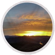 Sunset Over Black Canyon And River #1 Round Beach Towel
