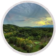 Sunset Over Blue Hill Round Beach Towel