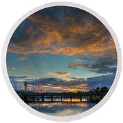 Sunset Over Boat Ramp At Anacortes Marina Round Beach Towel