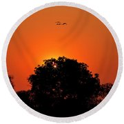 Sunset Over Botswana Round Beach Towel