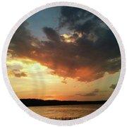 Sunset Over Bridgeport Lake Round Beach Towel