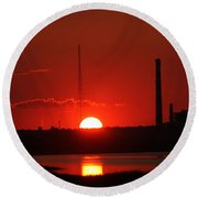 Sunset Over Bridgeport Round Beach Towel