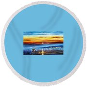 Sunset Over California Round Beach Towel