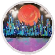 Sunset Over Capital Square Round Beach Towel