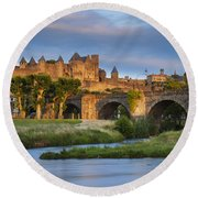 Sunset Over Carcassonne Round Beach Towel