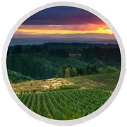 Sunset Over Central Oregon 4 Round Beach Towel