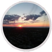Sunset Over Cleveland Round Beach Towel