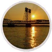 Sunset Over Columbia Crossing I-5 Bridge Round Beach Towel