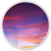 Sunset Over Desert Round Beach Towel