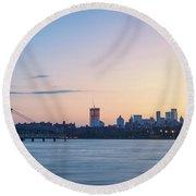 Sunset Over Downtown Manhattan Round Beach Towel