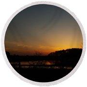 Sunset Over Drawyers Creek Round Beach Towel