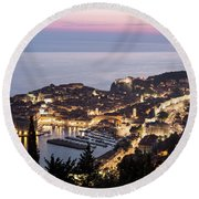 Sunset Over Dubrovnik In Croatia Round Beach Towel