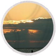 Sunset Over Egg Harbor Wi Round Beach Towel
