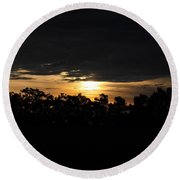 Sunset Over Farm And Trees - Silhouette View  Round Beach Towel