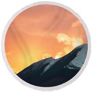 Sunset Over Grisedale Pike And The Coledale Horsehoe, Lake Distr Round Beach Towel