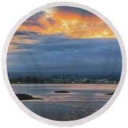 Sunset Over Hilo Round Beach Towel