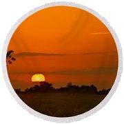 Sunset Over Horicon Marsh Round Beach Towel