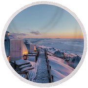 sunset over Igloos - Greenland Round Beach Towel