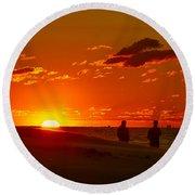 Sunset Over Indiana Dunes Round Beach Towel