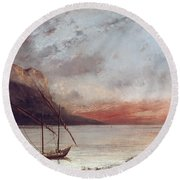 Sunset Over Lake Leman Round Beach Towel by Gustave Courbet