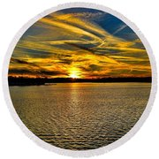 Sunset Over Lake Palestine Round Beach Towel