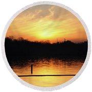 Sunset Over Lake Round Beach Towel