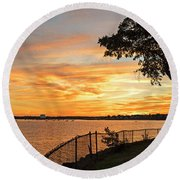 Sunset Over Lynch Park Beverly Ma Water Tower Round Beach Towel