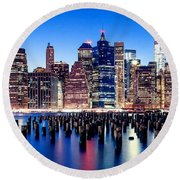 Magic Manhattan Round Beach Towel