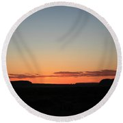 Sunset Over Monument Valley Round Beach Towel