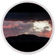 Sunset Over Mount Sanitas Round Beach Towel