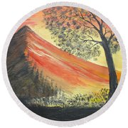 Sunset Over Mountains Round Beach Towel