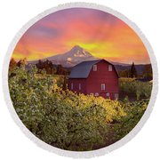 Sunset Over Mt Hood And Red Barn Round Beach Towel