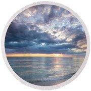 Sunset Over Naples Beach II Round Beach Towel