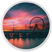 Sunset Over National Harbor Ferris Wheel Round Beach Towel