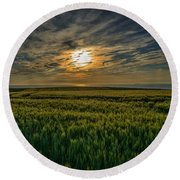 Sunset Over North Pas De Calais In France Round Beach Towel