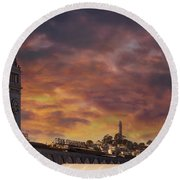 Sunset Over Port Of San Francisco Ferry Building Round Beach Towel