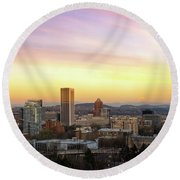 Sunset Over Portland Cityscape And Mt Hood Round Beach Towel