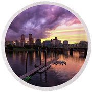 Sunset Over Portland Oregon Downtown Waterfront Round Beach Towel