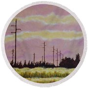 Sunset Over Powerlines Round Beach Towel