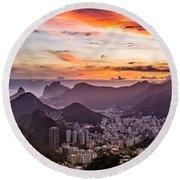 Sunset Over Rio De Janeiro  Round Beach Towel